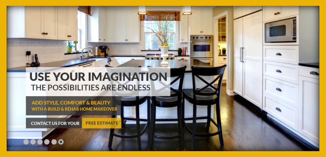 remodeled kitchen with white cabinets, integrated table and high chairs, stainless steel appliances